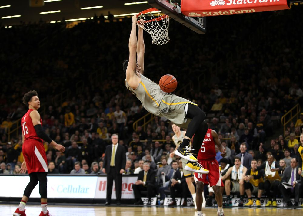 Iowa Hawkeyes forward Ryan Kriener (15) dunks the ball against the Nebraska Cornhuskers Sunday, January 6, 2019 at Carver-Hawkeye Arena. (Brian Ray/hawkeyesports.com)