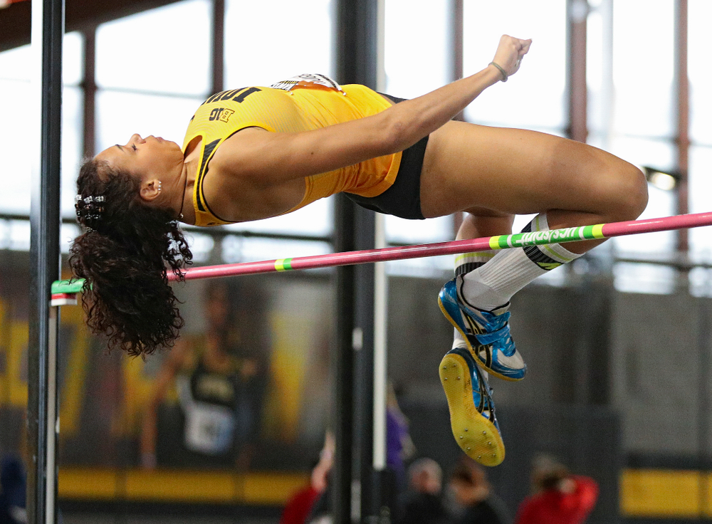 Iowa's Dallyssa Huggins competes in the women's high jump event during the Hawkeye Invitational at the Recreation Building in Iowa City on Saturday, January 11, 2020. (Stephen Mally/hawkeyesports.com)