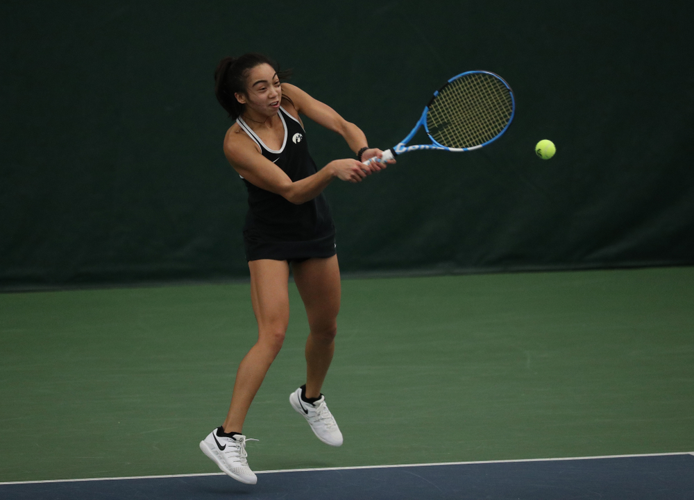 Iowa's Michelle Bacalla against the Penn State Nittany Lions Sunday, February 24, 2019 at the Hawkeye Tennis and Recreation Complex. (Brian Ray/hawkeyesports.com)