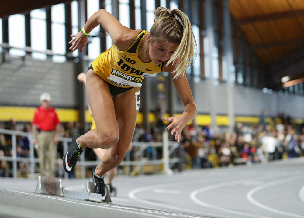 Iowa's Addie Swanson runs the women's 200 meter dash event during the Hawkeye Invitational at the Recreation Building in Iowa City on Saturday, January 11, 2020. (Stephen Mally/hawkeyesports.com)