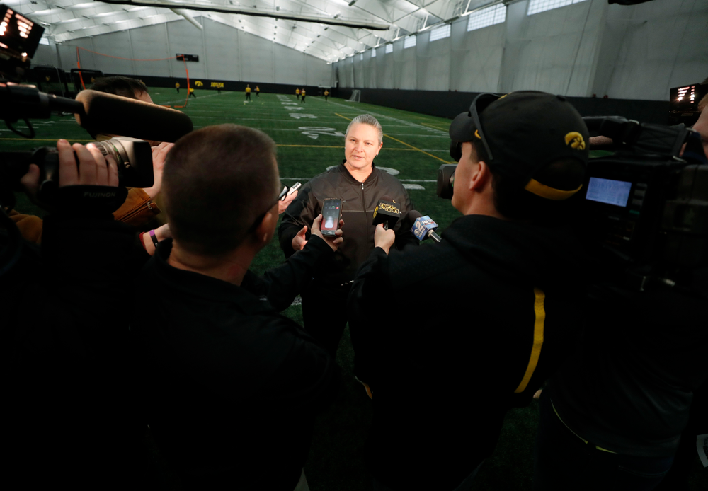 Iowa Head Coach Marla Looper answers questions during the team's annual media day Thursday, February 1, 2018 at the Hawkeye Tennis and Recreation Complex. (Brian Ray/hawkeyesports.com)