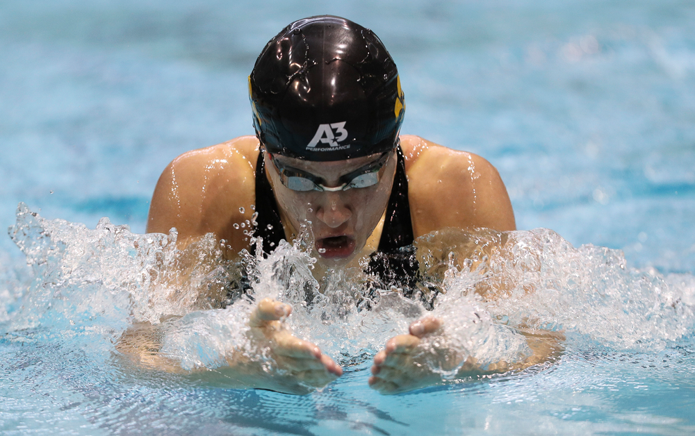 Iowa's Sage Ohlensehlen competes in the 200-yard breaststroke during the third day of the Hawkeye Invitational at the Campus Recreation and Wellness Center on November 17, 2018. (Tork Mason/hawkeyesports.com)
