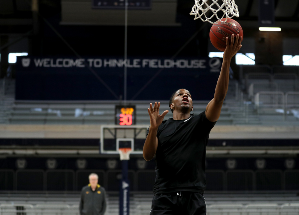Iowa Hawkeyes guard Bakari Evelyn (4) during practice at Hinkle Fieldhouse  Wednesday, March 11, 2020 in Indianapolis. (Brian Ray/hawkeyesports.com)