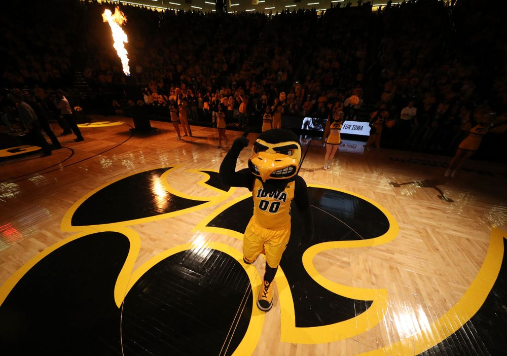 Herky The Hawk against the Wisconsin Badgers Friday, November 30, 2018 at Carver-Hawkeye Arena. (Brian Ray/hawkeyesports.com)