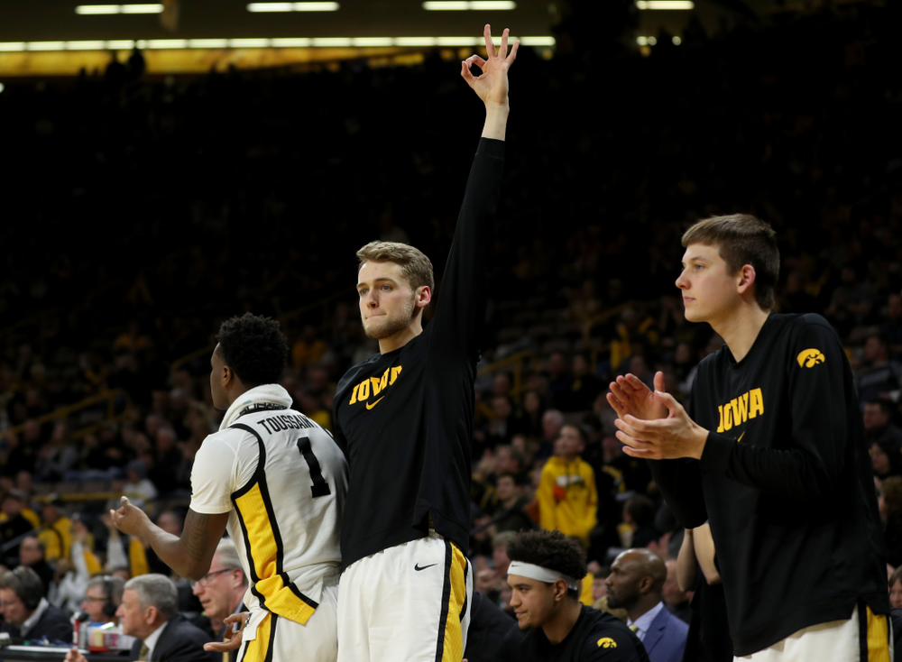 Iowa Hawkeyes forward Riley Till (20) against the Maryland Terrapins Friday, January 10, 2020 at Carver-Hawkeye Arena. (Brian Ray/hawkeyesports.com)