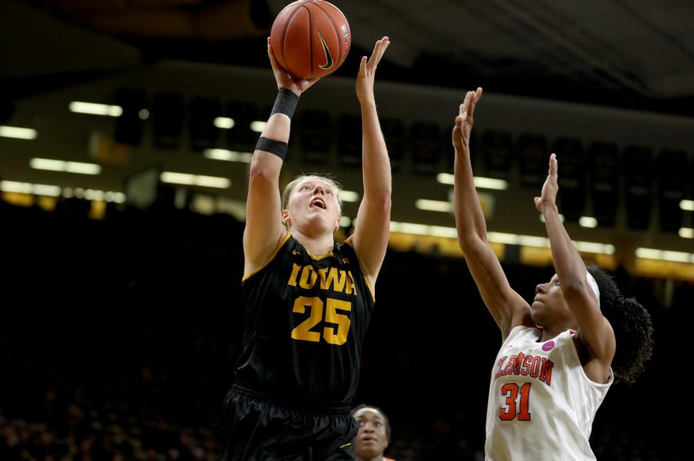 Iowa Hawkeyes forward/center Monika Czinano (25) against Clemson Wednesday, December 4, 2019 at Carver-Hawkeye Arena. (Brian Ray/hawkeyesports.com)
