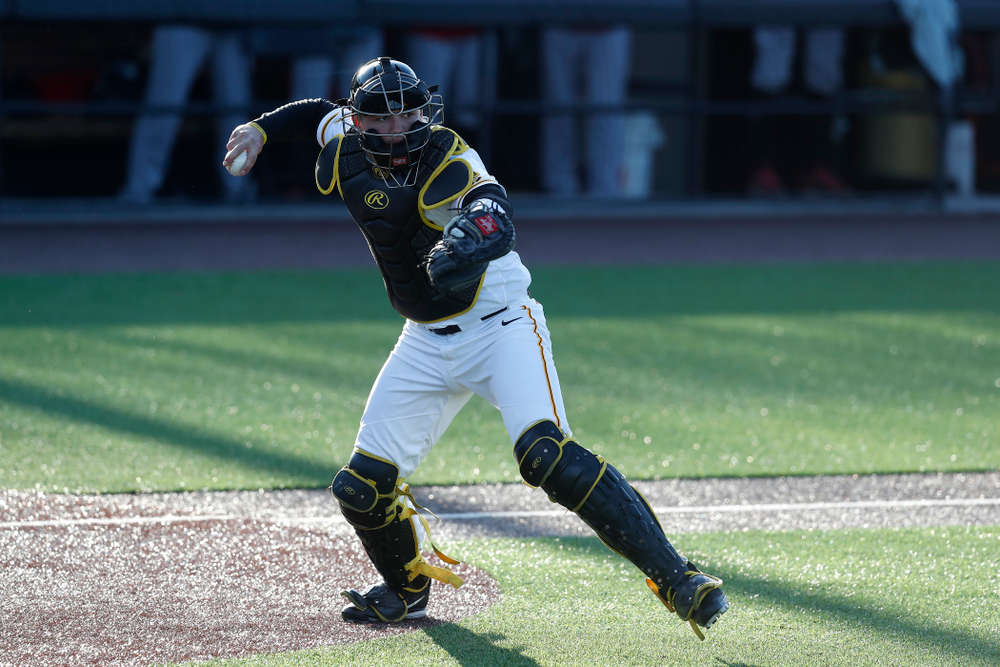 Iowa Hawkeyes catcher Matt Berst (13) against Northern Illinois Tuesday, April 17, 2018 at Duane Banks Field. (Brian Ray/hawkeyesports.com)