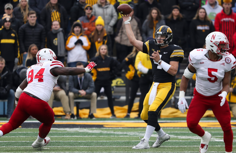 Iowa Hawkeyes quarterback Nate Stanley (4) passes the ball during a game against Nebraska at Kinnick Stadium on November 23, 2018. (Tork Mason/hawkeyesports.com)