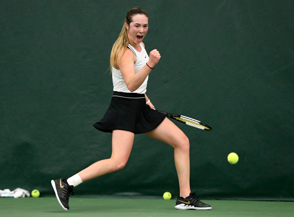 Iowa's Samantha Mannix during her singles match at the Hawkeye Tennis and Recreation Complex in Iowa City on Sunday, February 16, 2020. (Stephen Mally/hawkeyesports.com)