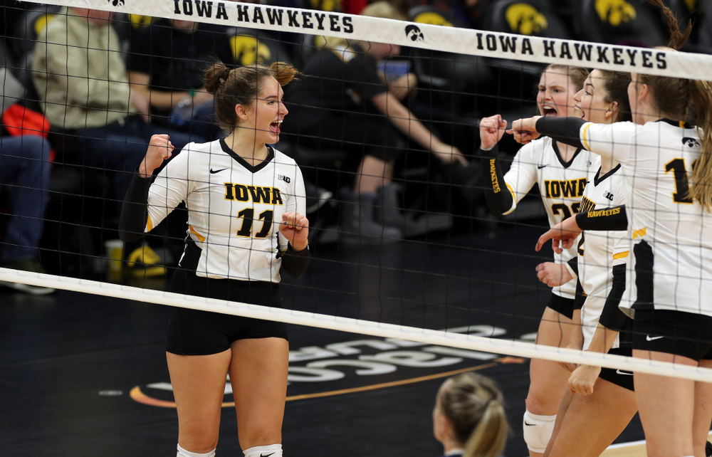 Iowa Hawkeyes middle blocker Blythe Rients (11) against Penn State Friday, November 1, 2019 at Carver Hawkeye Arena. (Brian Ray/hawkeyesports.com)