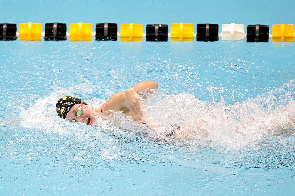 Iowa's Grace Reeder swims the women's 200 yard freestyle event during their meet at the Campus Recreation and Wellness Center in Iowa City on Friday, February 7, 2020. (Stephen Mally/hawkeyesports.com)