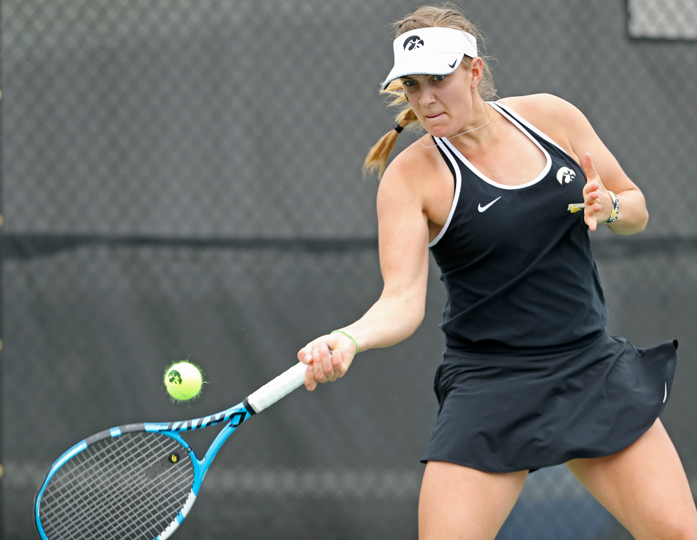 Iowa's Ashleigh Jacobs during a match against Rutgers at the Hawkeye Tennis and Recreation Complex in Iowa City on Friday, Apr. 5, 2019. (Stephen Mally/hawkeyesports.com)