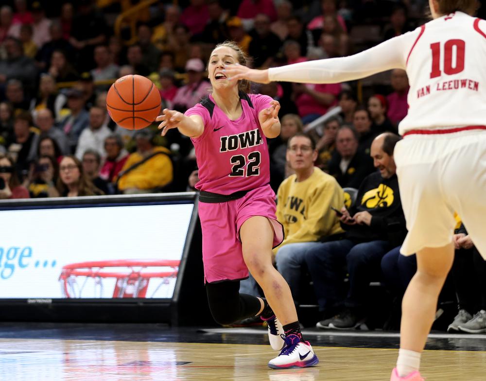 Iowa Hawkeyes guard Kathleen Doyle (22) against the Wisconsin Badgers Sunday, February 16, 2020 at Carver-Hawkeye Arena. (Brian Ray/hawkeyesports.com)