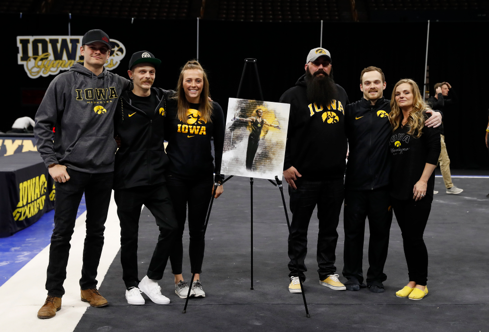 Iowa's Dylan Ellsworth and his family during senior day activities