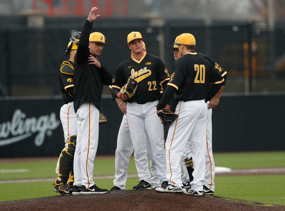 Iowa Hawkeyes head coach Rick Heller against the Bradley Braves Wednesday, March 28, 2018 at Duane Banks Field. (Brian Ray/hawkeyesports.com)