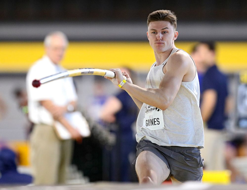 Iowa's Daniel Gaynes competes in the men's pole vault event at the Black and Gold Invite at the Recreation Building in Iowa City on Saturday, February 1, 2020. (Stephen Mally/hawkeyesports.com)