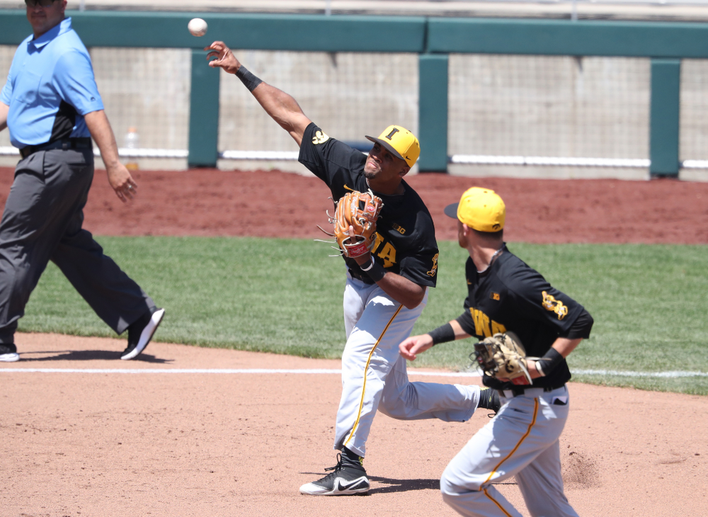 Iowa Hawkeyes infielder Lorenzo Elion (1) against the Nebraska Cornhuskers in the first round of the Big Ten Baseball Tournament Friday, May 24, 2019 at TD Ameritrade Park in Omaha, Neb. (Brian Ray/hawkeyesports.com)