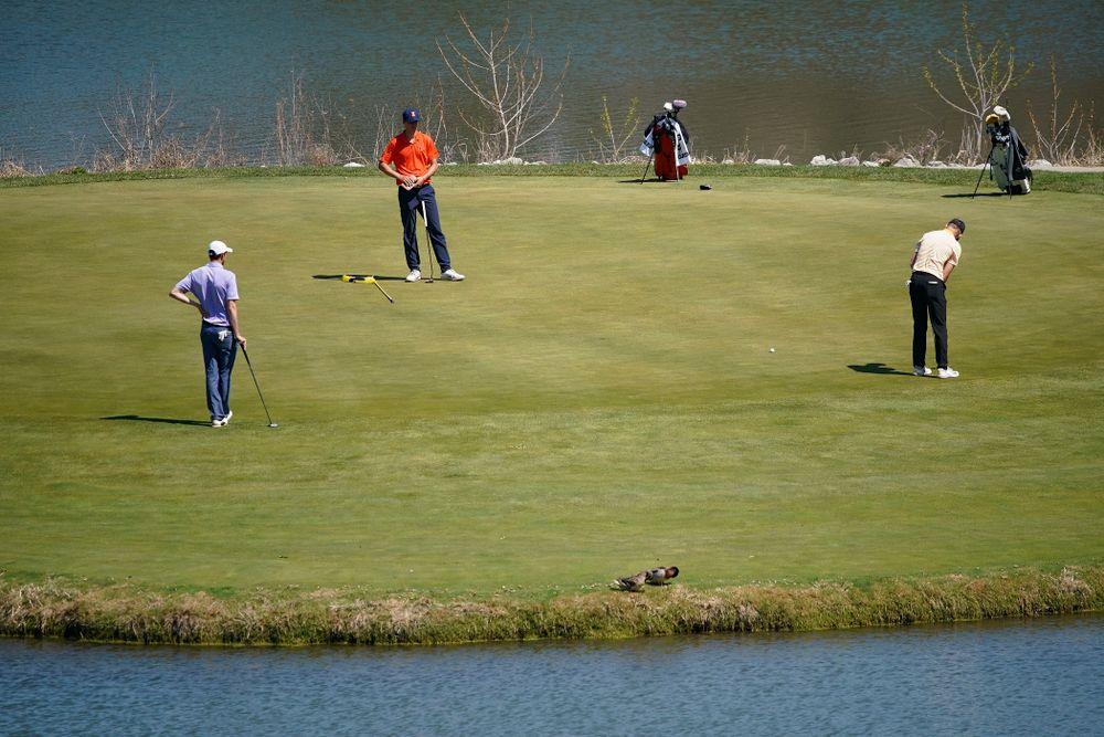 Iowa's Benton Weinberg putts during the third round of the Hawkeye Invitational at Finkbine Golf Course in Iowa City on Sunday, Apr. 21, 2019. (Stephen Mally/hawkeyesports.com)