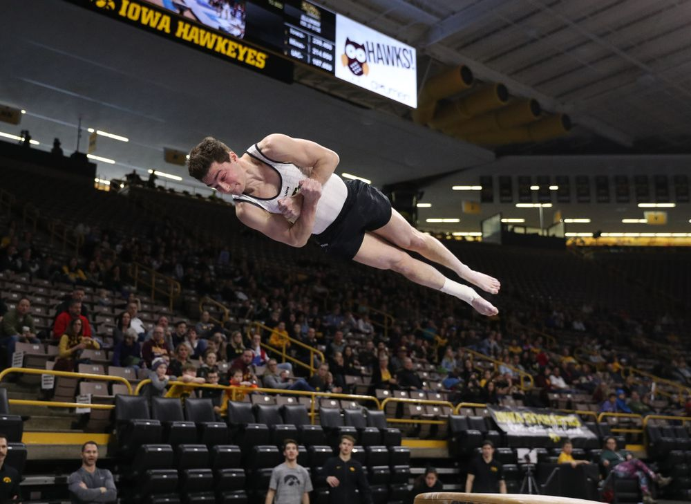 Iowa's Jake Brodarzon competes on the vault against UIC and Minnesota Saturday, February 2, 2019 at Carver-Hawkeye Arena. (Brian Ray/hawkeyesports.com)