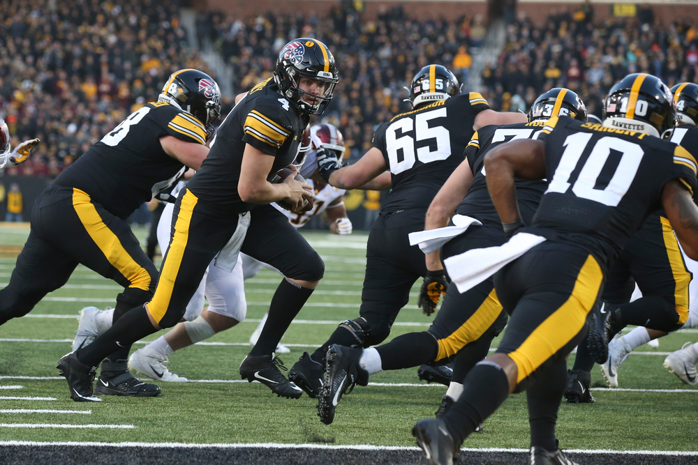 Iowa Hawkeyes quarterback Nate Stanley (4) during Iowa football vs Minnesota on Saturday, November 16, 2019 at Kinnick Stadium. (Lily Smith/hawkeyesports.com)