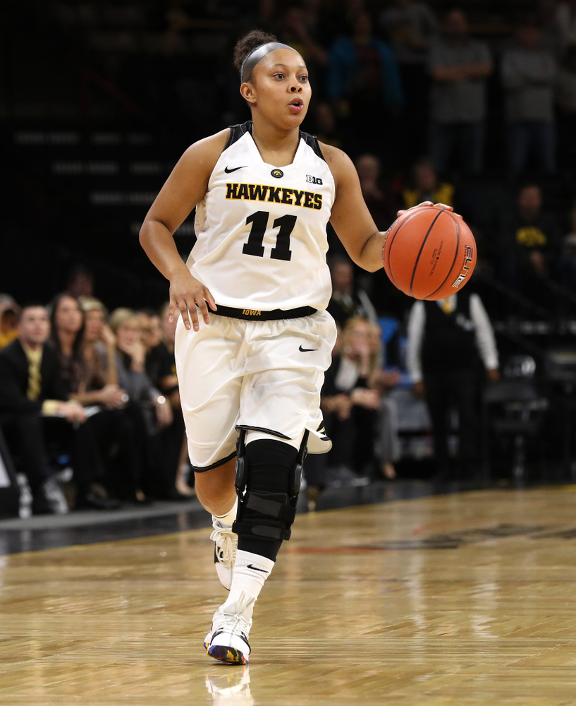 Iowa Hawkeyes guard Tania Davis (11) against Dakota Wesleyan University Tuesday, November 6, 2018 at Carver-Hawkeye Arena. (Brian Ray/hawkeyesports.com)
