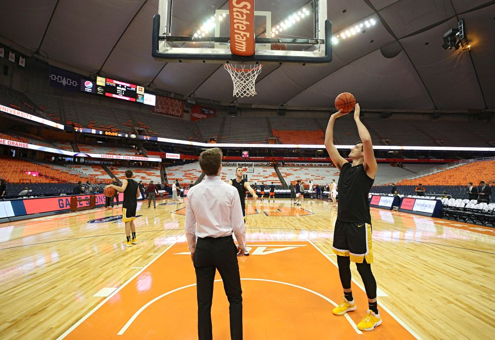 Iowa Hawkeyes forward Ryan Kriener (15) warms up on the court before their ACC/Big Ten Challenge game at the Carrier Dome in Syracuse, N.Y. on Tuesday, Dec 3, 2019. (Stephen Mally/hawkeyesports.com)