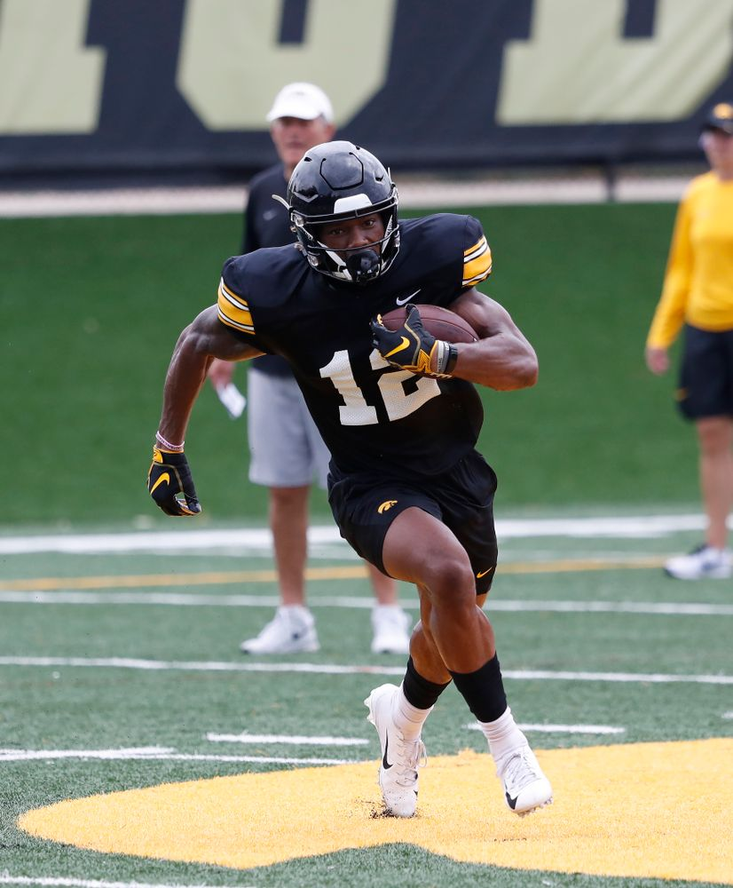 Iowa Hawkeyes wide receiver Brandon Smith (12) during practice No. 4 of Fall Camp Monday, August 6, 2018 at the Hansen Football Performance Center. (Brian Ray/hawkeyesports.com)