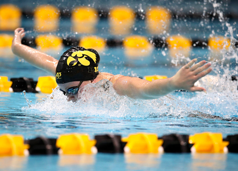 Iowa's Alleyna Thomas swims the women's 100 yard butterfly event during their meet at the Campus Recreation and Wellness Center in Iowa City on Friday, February 7, 2020. (Stephen Mally/hawkeyesports.com)