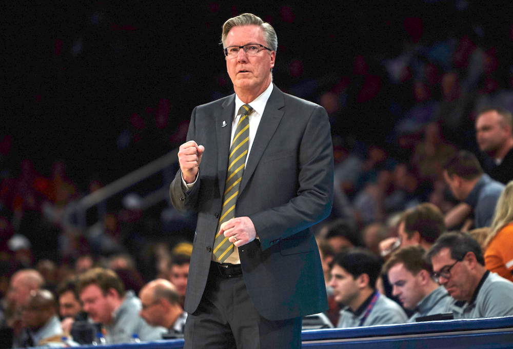 Iowa Hawkeyes head coach Fran McCaffery against UConn in the Championship game of the 2K Empire Classic Friday, November 16, 2018 at Madison Square Garden in New York City. (Duncan H.Williams/Freelance)