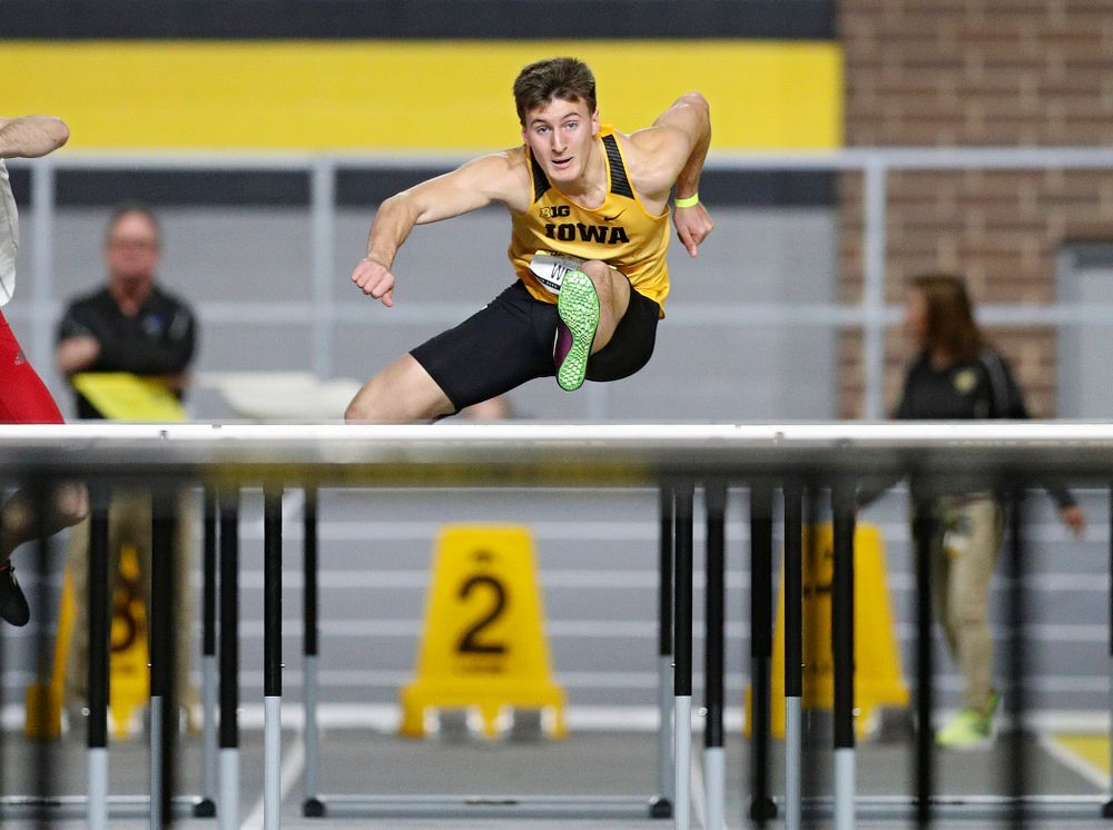Iowa's Austin West competes in the men's 60 meter hurdles prelims event during the Jimmy Grant Invitational at the Recreation Building in Iowa City on Saturday, December 14, 2019. (Stephen Mally/hawkeyesports.com)