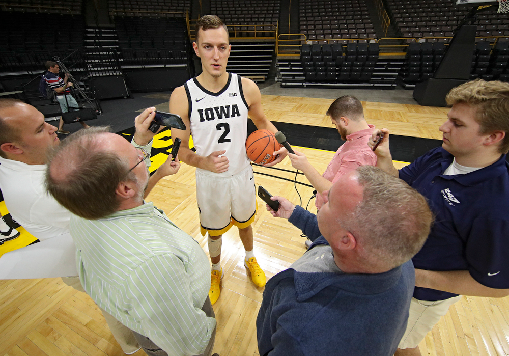 Iowa Hawkeyes forward Jack Nunge (2) answers questions during Iowa Men's Basketball Media Day at Carver-Hawkeye Arena in Iowa City on Wednesday, Oct 9, 2019. (Stephen Mally/hawkeyesports.com)