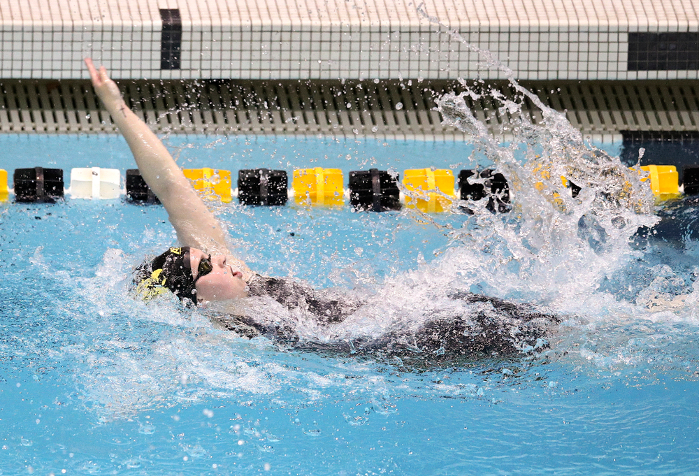 Iowa's Amy Lenderink swims the women's 50 yard backstroke event during their meet at the Campus Recreation and Wellness Center in Iowa City on Friday, February 7, 2020. (Stephen Mally/hawkeyesports.com)