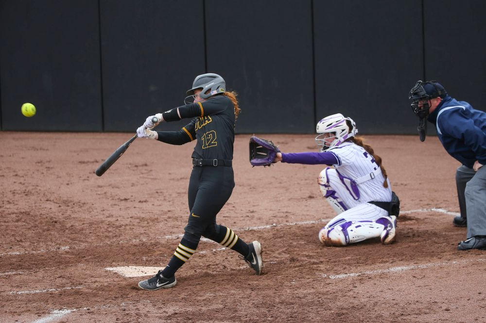 Iowa's Kate Claypool (12) at game 2 vs Northwestern on Saturday, March 30, 2019 at Bob Pearl Field. (Lily Smith/hawkeyesports.com)