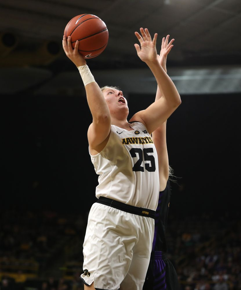 Iowa Hawkeyes forward/center Monika Czinano (25) against the Northern Iowa Panthers in the Hy-Vee Classic Sunday, December 16, 2018 at Carver-Hawkeye Arena. (Brian Ray/hawkeyesports.com)