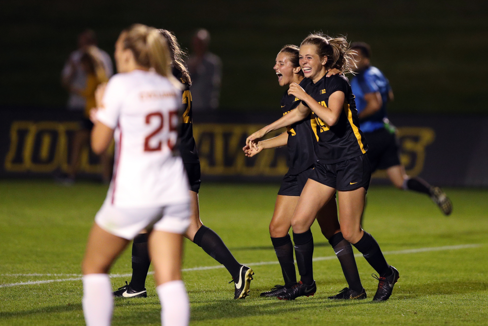 Iowa Hawkeyes forward Jenny Cape (19) and midfielder Isabella Blackman (6) celebrate a goal during a 2-1 victory over the Iowa State Cyclones Thursday, August 29, 2019 in the Iowa Corn Cy-Hawk series at the Iowa Soccer Complex. (Brian Ray/hawkeyesports.com)