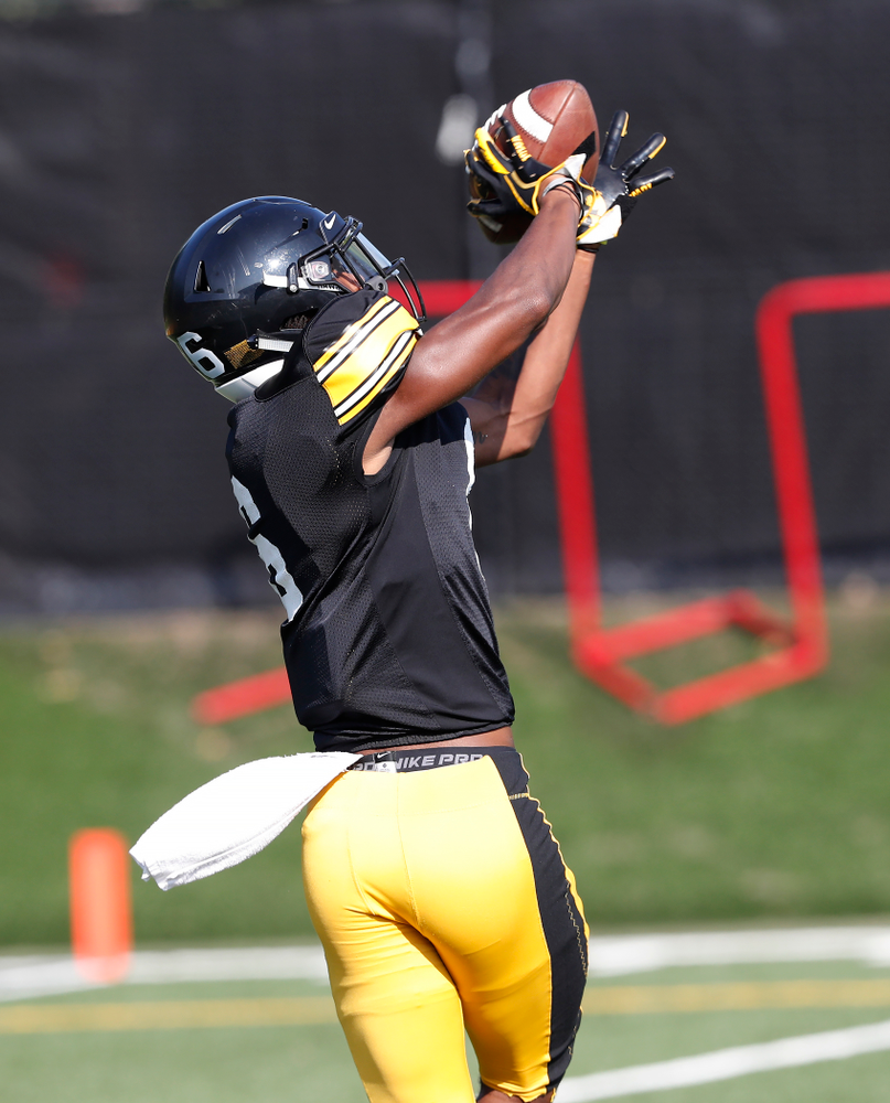Iowa Hawkeyes wide receiver Ihmir Smith-Marsette (6) during camp practice No. 17 Wednesday, August 22, 2018 at the Kenyon Football Practice Facility. (Brian Ray/hawkeyesports.com)