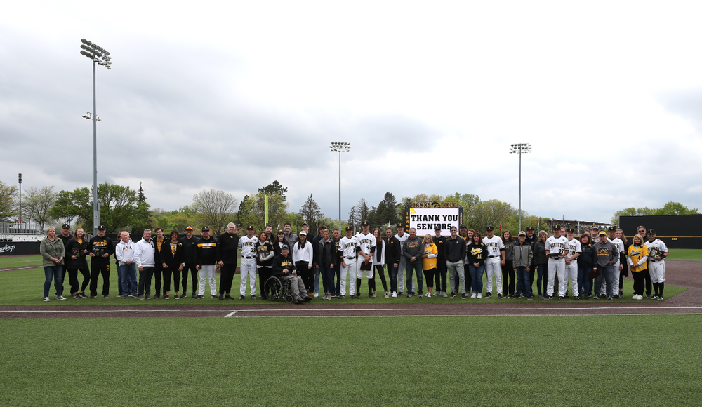 The Iowa Baseball seniors and their families during senior day festivities before their game against Michigan State Sunday, May 12, 2019 at Duane Banks Field. (Brian Ray/hawkeyesports.com)