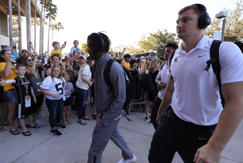 Iowa Hawkeyes wide receiver Ihmir Smith-Marsette (6) arrives for the Outback Bowl Tuesday, January 1, 2019 at Raymond James Stadium in Tampa, FL. (Brian Ray/hawkeyesports.com)