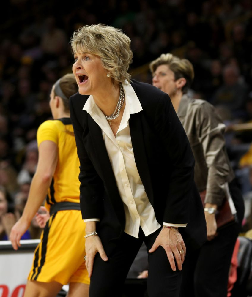 Iowa Hawkeyes head coach Lisa Bluder against the Minnesota Golden Gophers Thursday, February 27, 2020 at Carver-Hawkeye Arena. (Brian Ray/hawkeyesports.com)