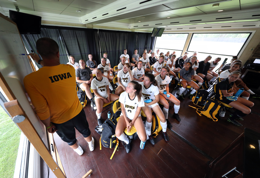 Blair Quinn Associate Head Coach diagrams a play during halftime of a 6-1 win over Northern Iowa Sunday, August 25, 2019 at the Iowa Soccer Complex. (Brian Ray/hawkeyesports.com)