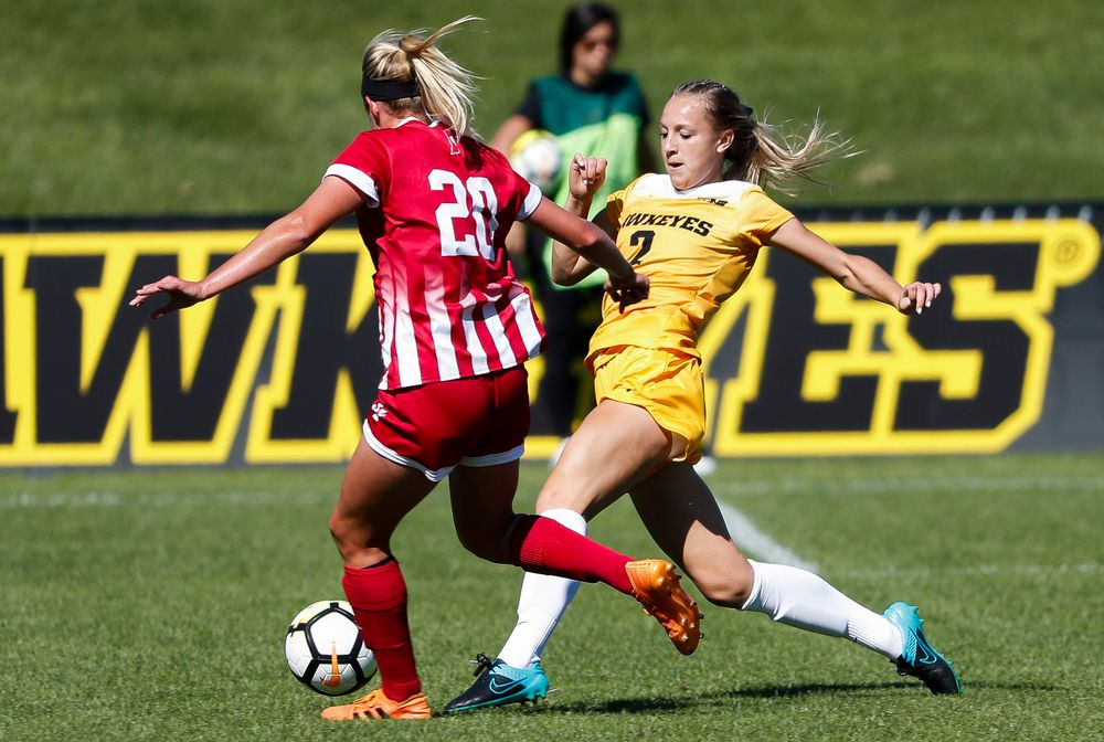 Iowa Hawkeyes midfielder Hailey Rydberg (2) makes a tackle during a game against Indiana at the Iowa Soccer Complex on September 23, 2018. (Tork Mason/hawkeyesports.com)