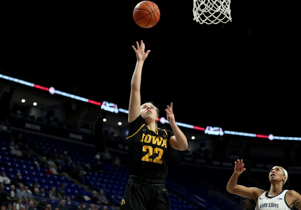 Iowa Hawkeyes guard Kathleen Doyle (22) against the Penn State Nittany Lions Thursday, January 30, 2020 at the Bryce Jordan Center. (Brian Ray/hawkeyesports.com)