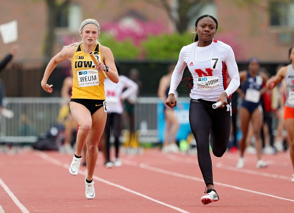 Iowa's Aly Weum runs her section of the women's 400 meter relay event on the third day of the Big Ten Outdoor Track and Field Championships at Francis X. Cretzmeyer Track in Iowa City on Sunday, May. 12, 2019. (Stephen Mally/hawkeyesports.com)