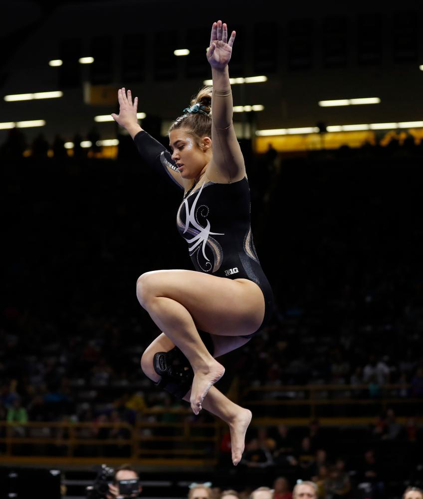 Iowa's Rose Piorkowski competes on the beam against the Nebraska Cornhuskers