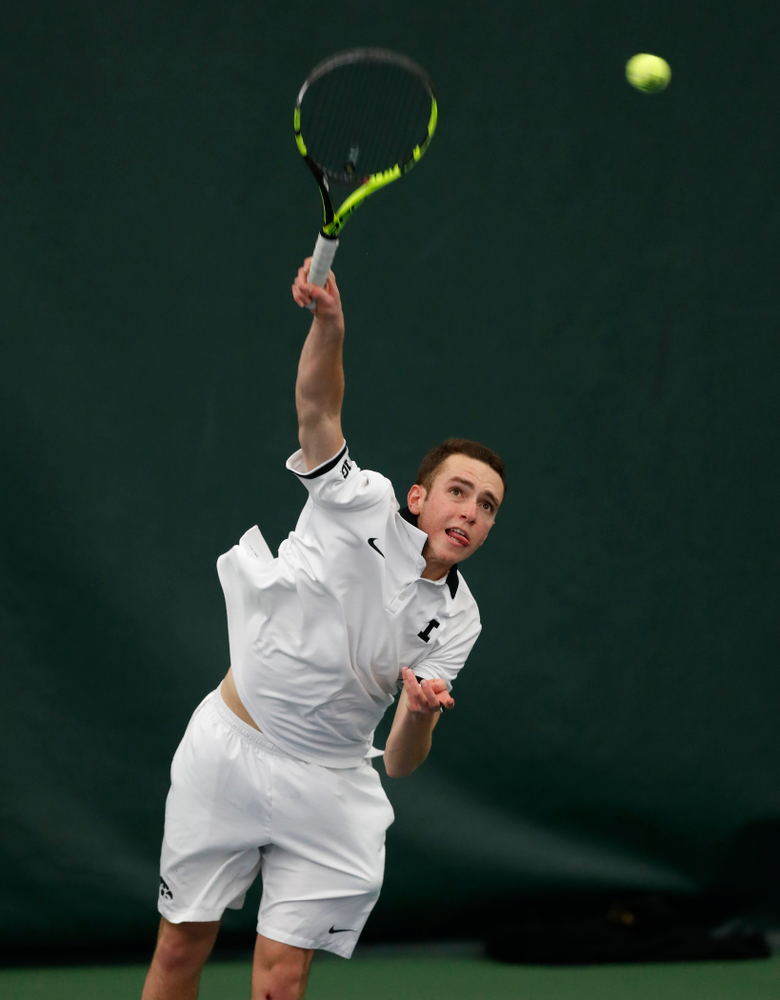 Kareem Allaf against Purdue Sunday, April 15, 2018 at the Hawkeye Tennis and Recreation Center. (Brian Ray/hawkeyesports.com)