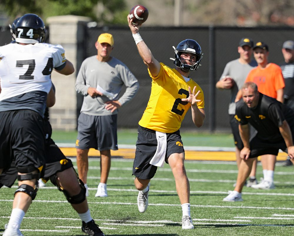 Iowa Hawkeyes quarterback Peyton Mansell (2) throws a pass during Fall Camp Practice No. 13 at the Hansen Football Performance Center in Iowa City on Friday, Aug 16, 2019. (Stephen Mally/hawkeyesports.com)