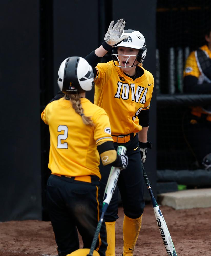 Iowa Hawkeyes infielder Sarah Kurtz (9) against UW Green Bay Tuesday, March 27, 2018 at Bob Pearl Field. (Brian Ray/hawkeyesports.com)