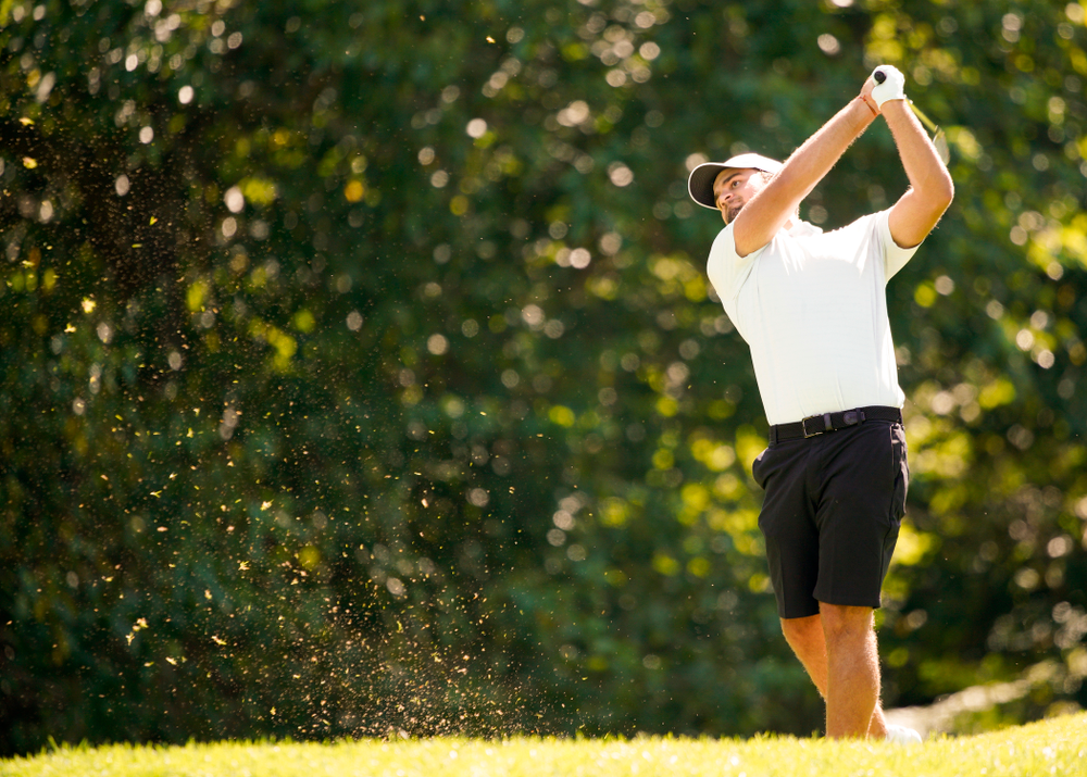 Iowa's Gonzalo Leal tees off during the second day of the Golfweek Conference Challenge at the Cedar Rapids Country Club in Cedar Rapids on Monday, Sep 16, 2019. (Stephen Mally/hawkeyesports.com)