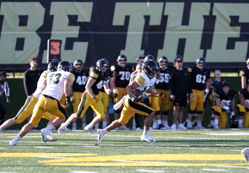 Iowa Hawkeyes defensive back Daraun McKinney intercepts a pass during the teamÕs final spring practice Friday, April 26, 2019 at the Kenyon Football Practice Facility. (Brian Ray/hawkeyesports.com)