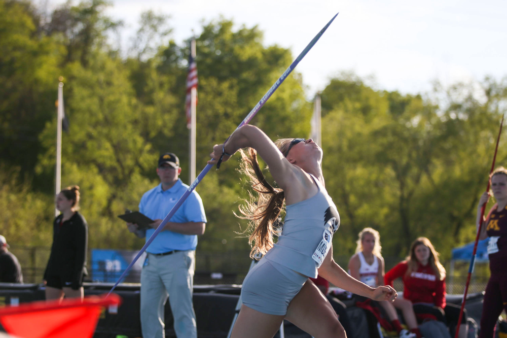 IowaÕs Marissa Mueller throws during the womenÕs javelin throw at the Big Ten Outdoor Track and Field Championships at Francis X. Cretzmeyer Track on Friday, May 10, 2019. (Lily Smith/hawkeyesports.com)